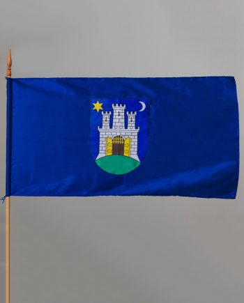 svilena zastava grada zagreba s otvorom za štap promjera 5cm